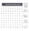 wild nature editable line icons 100 set vector image vector image