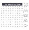 wild nature editable line icons 100 set vector image