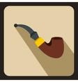 Wooden pipe iconflat style vector image vector image