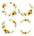 yellow sunflower wreath with golden round frame vector image