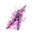 abstract speed skaters from splash watercolors vector image vector image