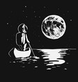 astronaut swims by boat to the moon vector image vector image
