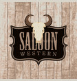 banner for western saloon with bull skull vector image vector image