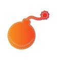 Bomb sign orange applique isolated