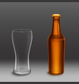 brown bottle with beer and empty tall glass vector image vector image