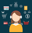 buy on line with saleswoman agent vector image