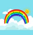 cartoon smiling rainbow in sky vector image vector image