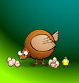 chickensRround Hen Eggs and Chick vector image