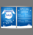 christmas sale flyer design in blue color vector image vector image