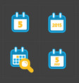colorful calendar icons on dark vector image vector image