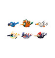 cute cartoon flying birds set funny colorful vector image vector image