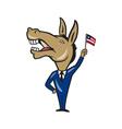 Democrat Donkey Mascot American Flag vector image vector image