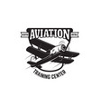 emblem template with retro airplane design vector image