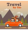 Family Travel by Car in Mountains vector image