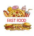 fast food sketch frame combo takeaway meals vector image vector image