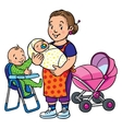 Funny mother or nanny with children
