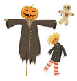 garden ugly terrible fabric scarecrow fright vector image vector image