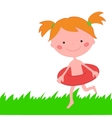 Girl runs across grass with circle for swimming vector image vector image