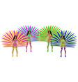 girls in carnival costumes brazilian samba vector image