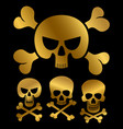 gold piracy skulls icons isolated on black vector image vector image