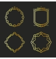 Golden emblems and badges frames set vector image