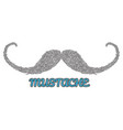 hand drawn mustache logo vector image