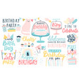 happy birthday lettering set hand drawn vector image vector image