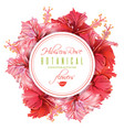 hibiscus round banner vector image vector image