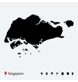 High detailed map of Singapore with navigation vector image