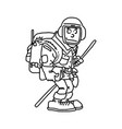 hiker with backpack black lines vector image vector image