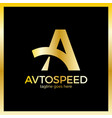 letter a logo - auto speed luxury royal gold metal vector image