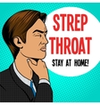 Man with sore throat pop art retro vector image