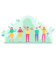 people celebrating birthday party holiday event vector image
