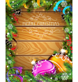 Purple and orange Christmas balls on wooden vector image vector image