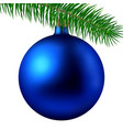 realistic blue matte christmas ball or bauble with vector image
