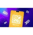 realistic detailed 3d phone big sale banner vector image
