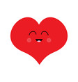 red heart face funny head cute cartoon kawaii vector image