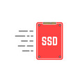red ssd like fast data transmissio vector image vector image