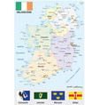 republic of ireland map with flag vector image