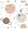 seamless childish pattern with funny planet vector image vector image