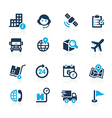 Shipping and Tracking Icons Azure vector image vector image