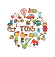 sketch children toys round concept vector image vector image