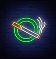 smoking area neon sign neon symbol a luminous vector image vector image