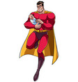 super dad with baby vector image