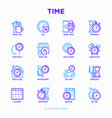 time thin line icons set vector image vector image