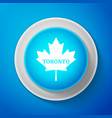 white canadian maple leaf with city name toronto vector image vector image