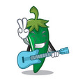 with guitar green chili character cartoon vector image