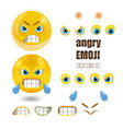 yellow angry smiley emoticons set emoji vector image vector image