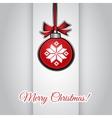 Christmas greeting card with ball hanging and vector image