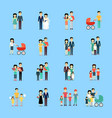 married couple people life collection on blue vector image